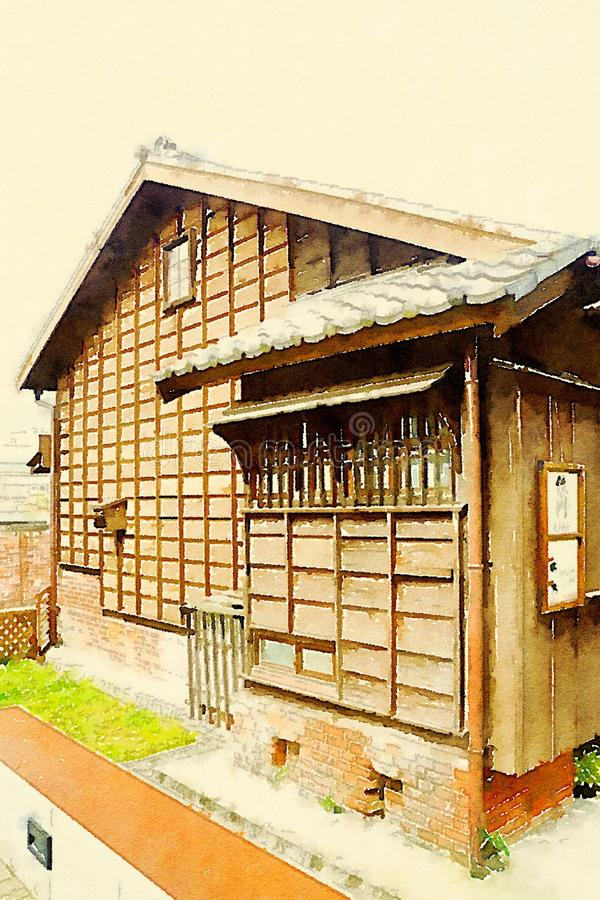 Colorful watercolor hand-painted art illustration : Japanese-style huts / building. (High-resolution 2D CG illustration) royalty free illustration