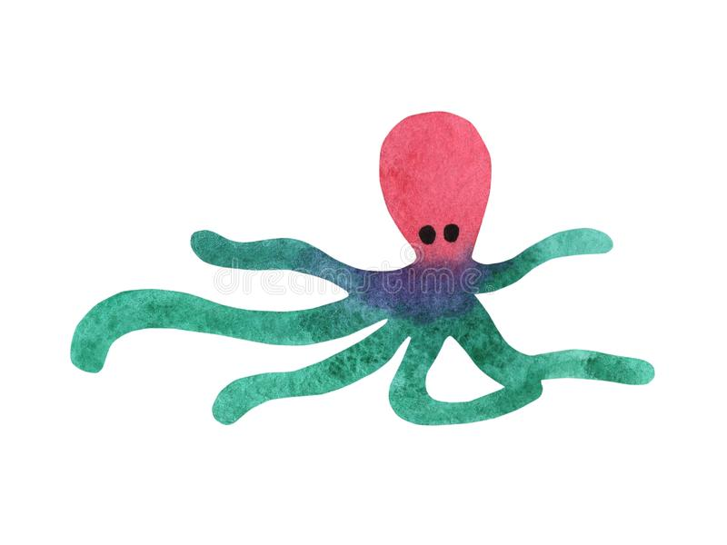 Colorful watercolor octopus. Sea poulpe, devilfish with tentacles illustration isolated on white background royalty free illustration