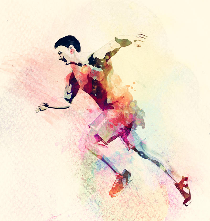 Colorful watercolor painting of man running. Abstract creative sport background stock illustration