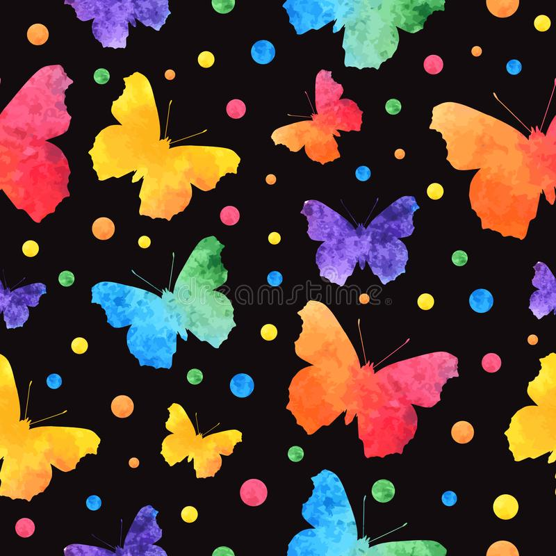 Colorful watercolor seamless pattern with cute butterflies isolated on black background. eps10.  royalty free illustration