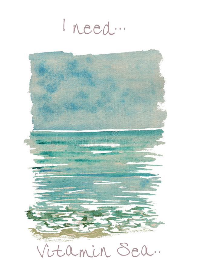 Colorful watercolor seascape illustration with text I neel vitamin sea stock illustration