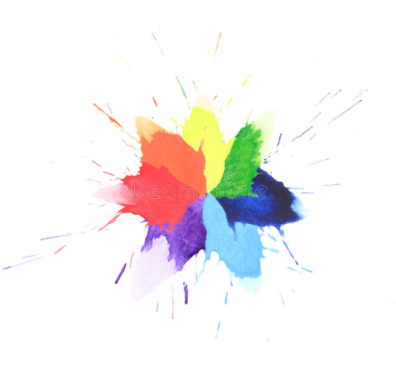Colorful watercolor splash. On white background stock photo