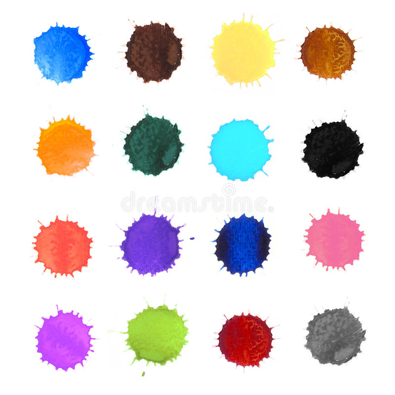 Colorful watercolor splash dot. On white background stock photos