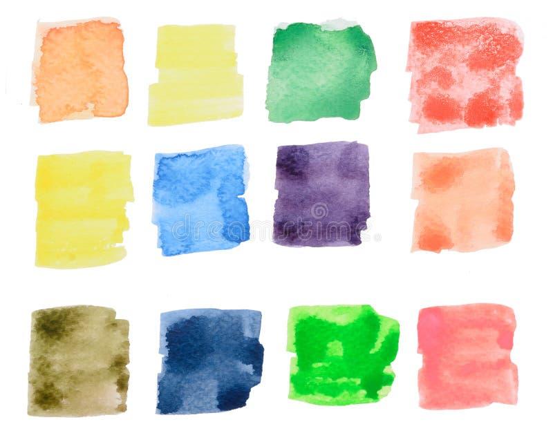 Colorful watercolor square draw stock illustration