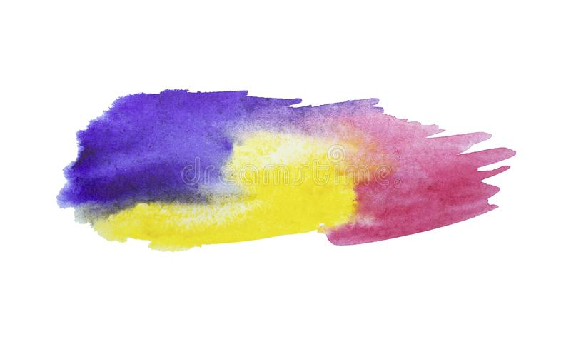Colorful watercolor stain with aquarelle paint blotch . Decorative element, frame or background royalty free stock photos