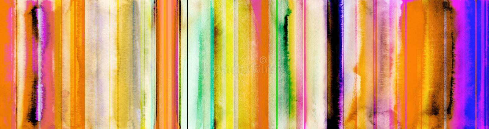 Colorful watercolor stripes banner with added straight lines pat. Colorful watercolor stripes and added straight lines banner in different tones and textures vector illustration
