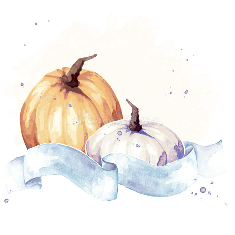 Colorful watercolor thanksgiving illustration royalty free illustration