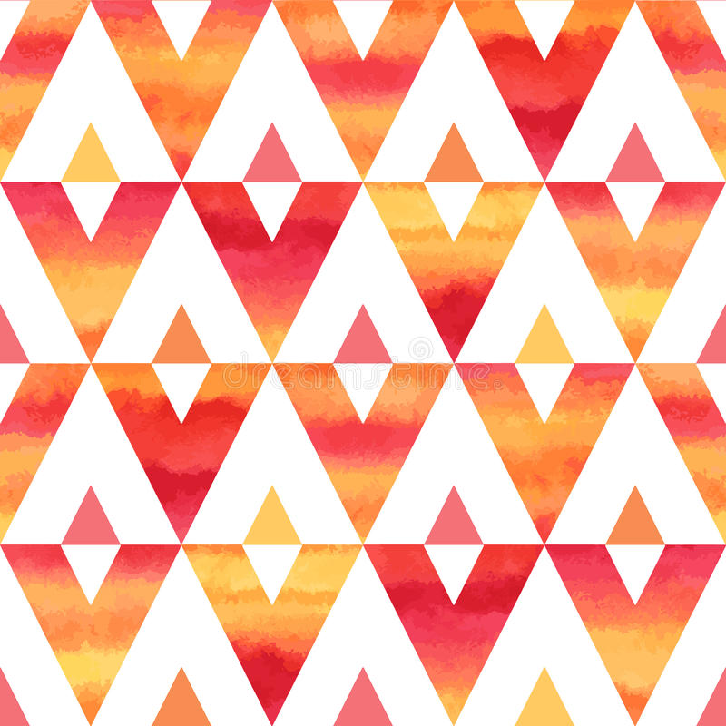 Colorful watercolor triangles seamless vector pattern royalty free illustration