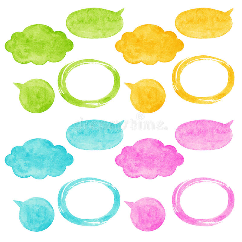 Colorful watercolor vector speech bubbles stock illustration