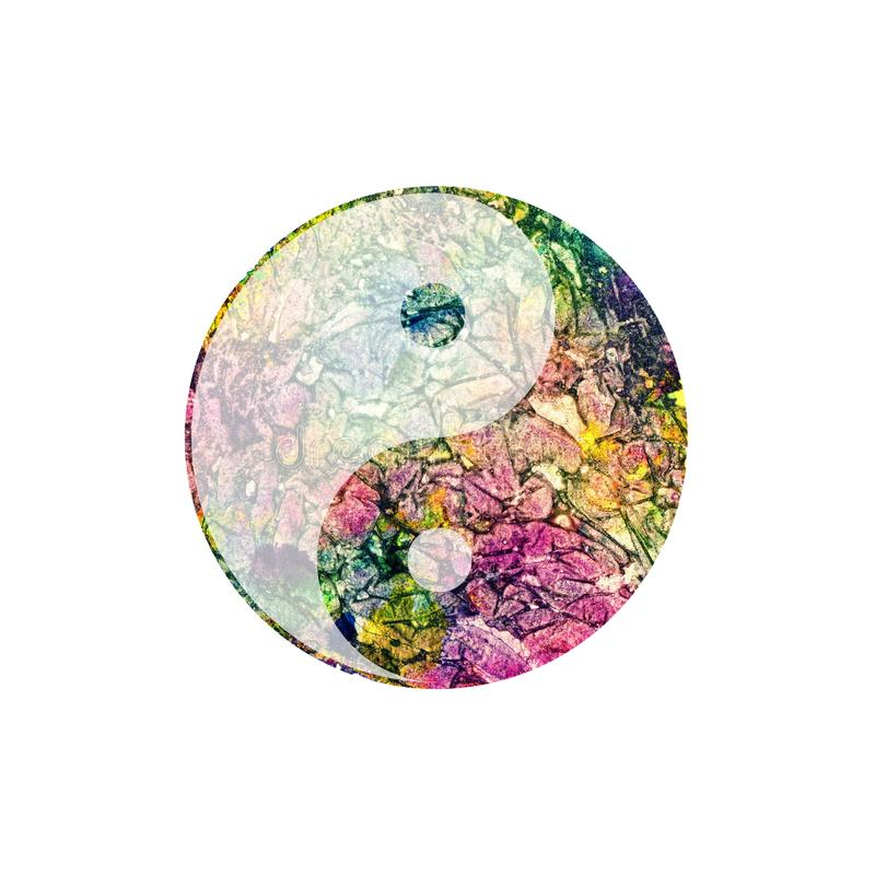 Colorful watercolor yin and yang symbol on white. royalty free illustration