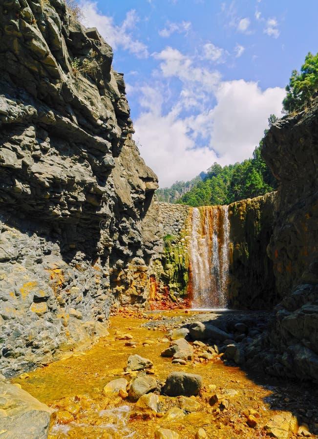 Colorful Waterfall on La Palma. Cascada de los Colores in Caldera de Taburiente National Park on la Palma, Canary Islands, Spain stock images