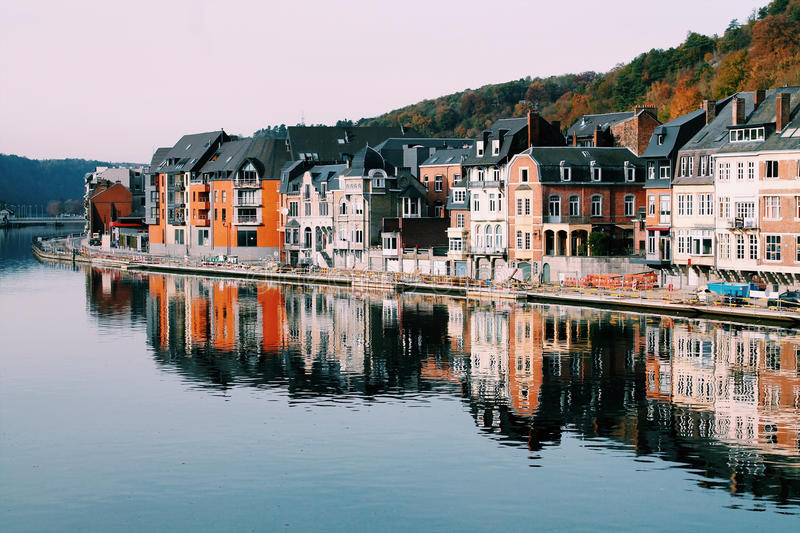 Colorful waterfront buildings stock image