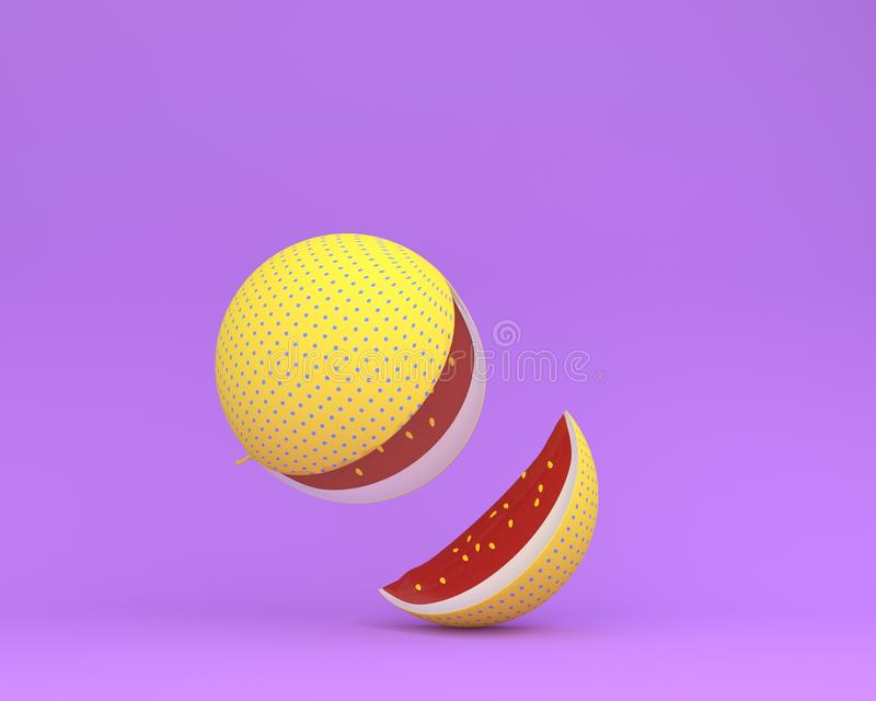 Colorful watermelon yellow polka dots separate pieces on purple. Pastel background. minimal idea food concept royalty free illustration