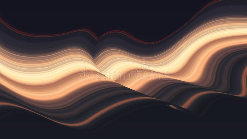Colorful wave abstract vector background. Dynamic warped lines. Futuristic motion surface. Gradient distorted stripes. Cover for your designs. Eps 10 royalty free illustration