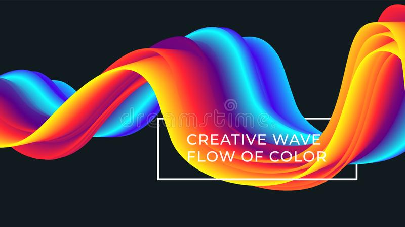 Colorful wave flow pattern. Background with liquid color lines vector illustration