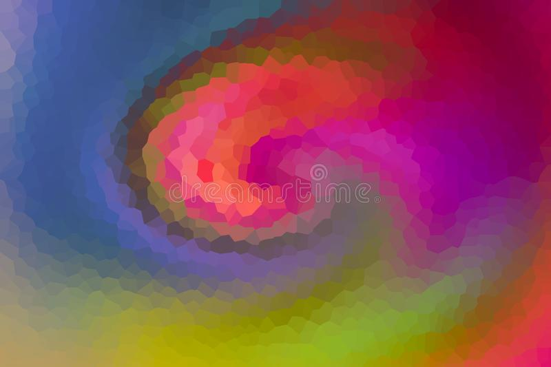 Colorful wave twirl mix fragmented panel multifaceted orange crimson red on blue green background vector illustration