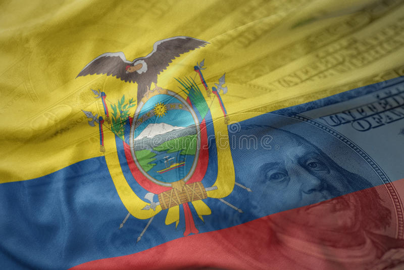 colorful waving national flag of ecuador on a dollar money background. finance concept stock image