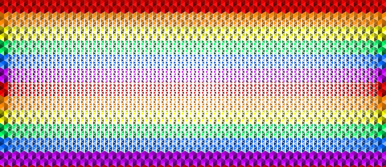 Colorful waving rainbow texture background of small triangle shapes, LGBTQ pride flag colors, horizontal seamless pattern. royalty free illustration
