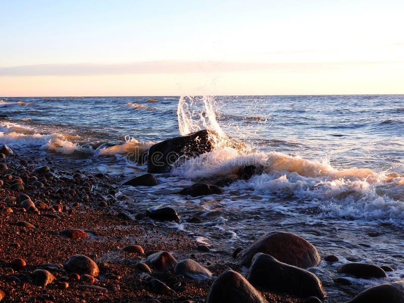 Wavy Baltic sea coast, Lithuania stock photography