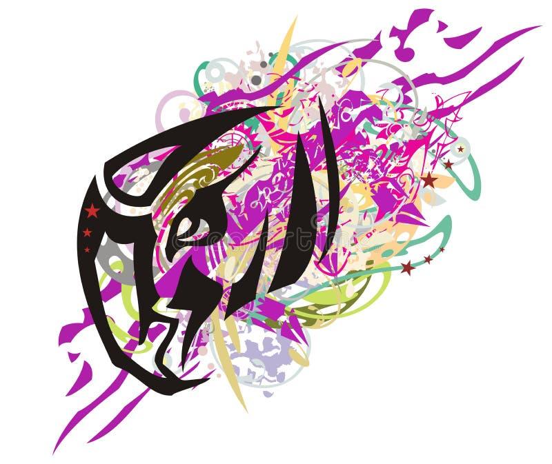 Colorful wavy tribal eagle head symbol splashes royalty free illustration