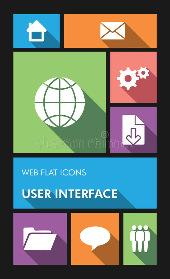 Colorful web apps user interface flat icons. stock images