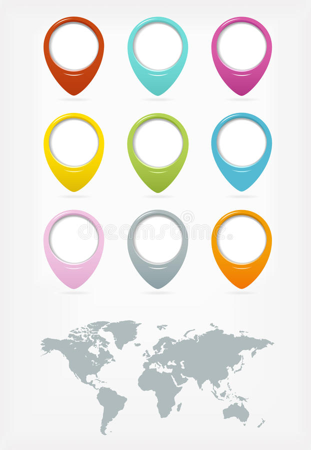 Free Colorful Web Buttons Set With World Map Stock Images - 27313834