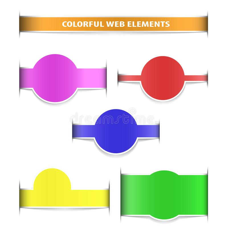 Colorful web elements with shadows royalty free stock photo