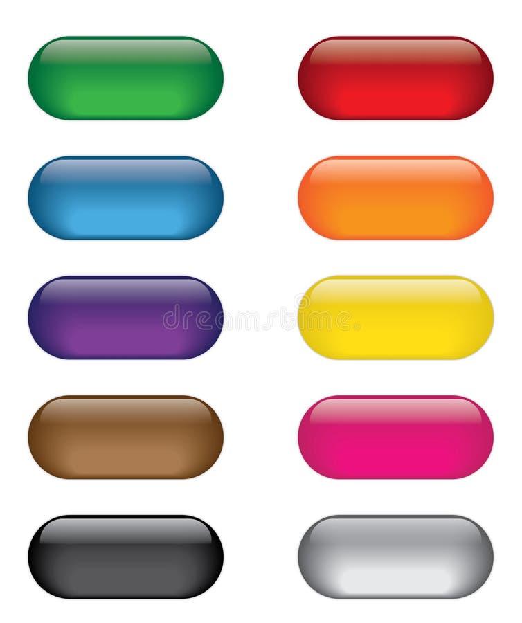 Colorful Glass Web Icon Button Set stock illustration