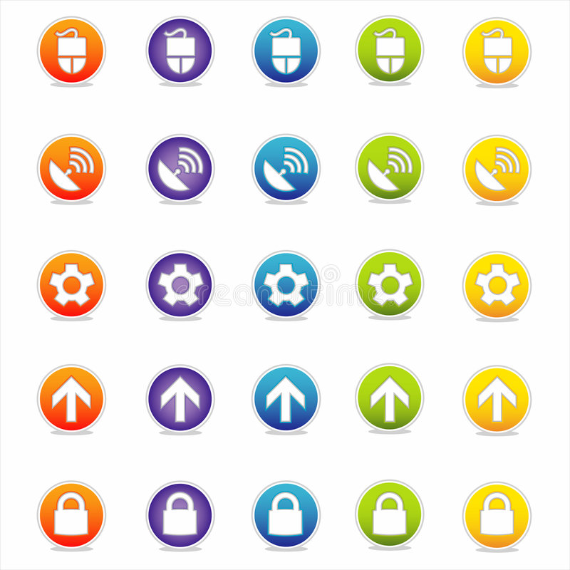 Free Colorful Web Icons 2 (Vector) Royalty Free Stock Photography - 2564847