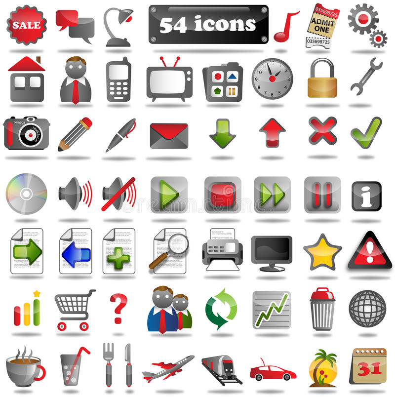 Download 54 colorful Web Icons stock illustration. Illustration of computer - 34582581