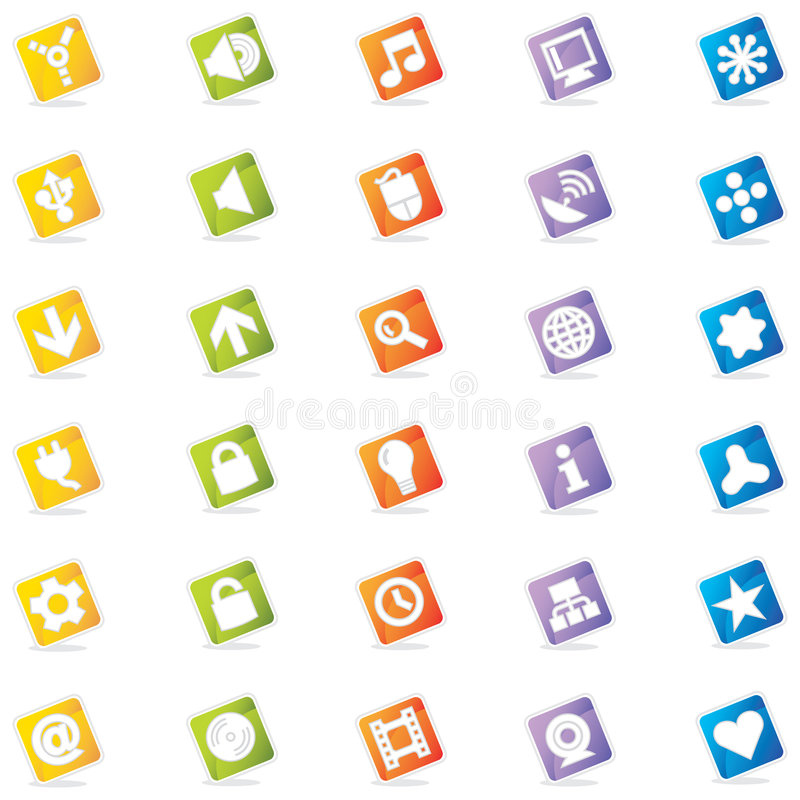 Colorful Web Icons (Vector) stock illustration