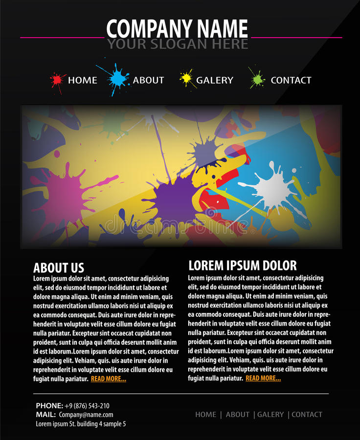 Colorful Web site design template. With drops royalty free illustration