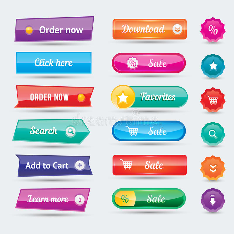 Colorful website buttons design vector illustration glossy graphic label internet template banner. Rounded blank menu reflection business navigation download vector illustration