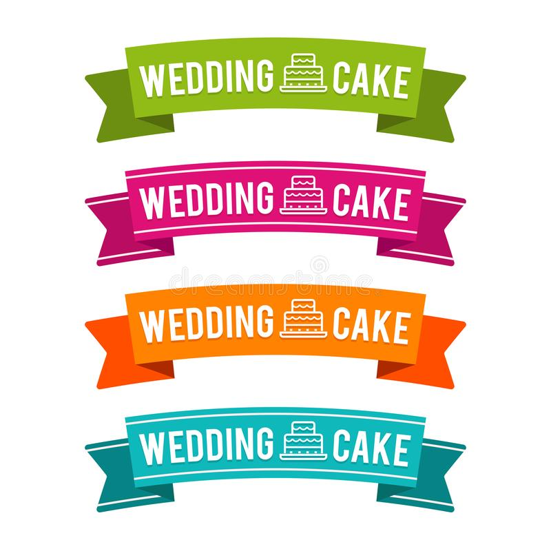 Colorful Wedding cake ribbons. Eps10 Vector. Colorful Wedding cake ribbons. Eps10 Vector banners stock illustration