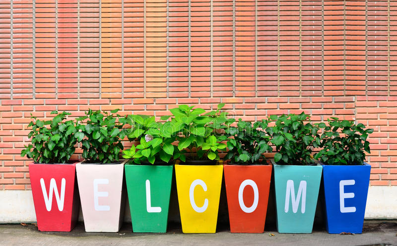 Colorful of the Welcome. Wording for reception outdoor stock photography