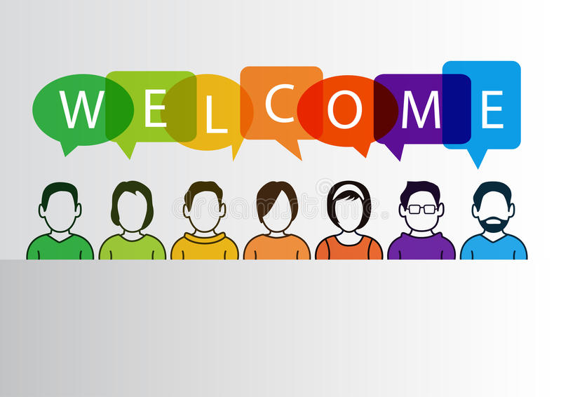 Colorful welcome background with simplified cartoon characters royalty free illustration