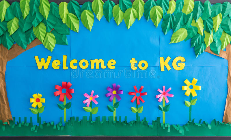 Colorful Welcome To Kindergarten paper artwork sign. For school and educational institution stock photo