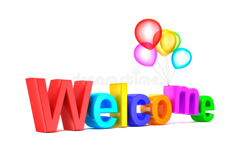 Colorful welcome word with balloons on white background stock illustration