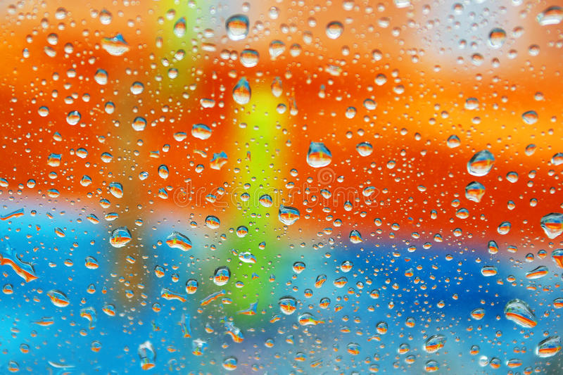 Colorful wet window stock photo