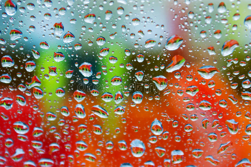 Colorful wet window royalty free stock photo