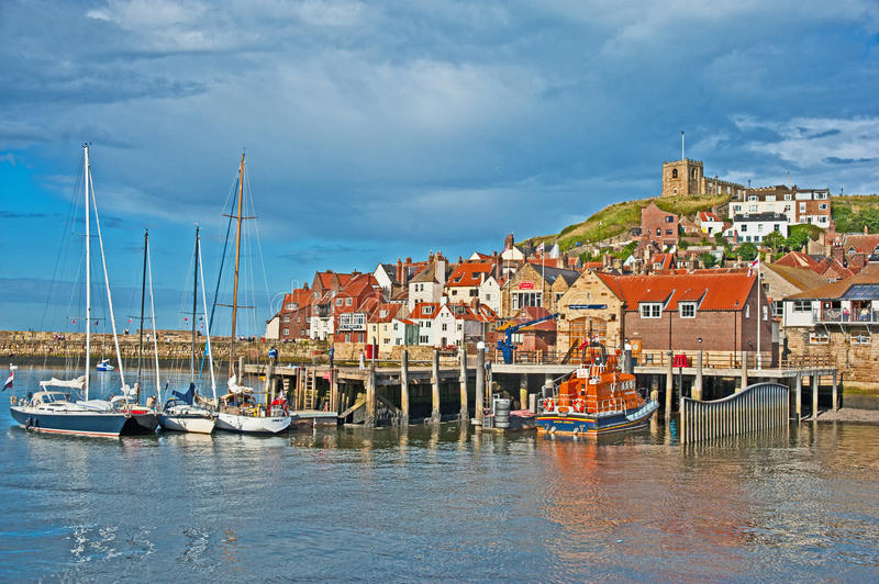 Colorful Whitby scenic tourist destination stock photos
