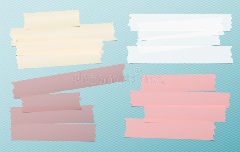 Colorful and white adhesive, sticky, masking, duct tape, paper strips, pieces for text on blue squared background.  vector illustration