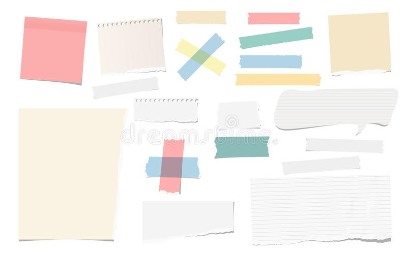 Colorful and white adhesive, sticky, masking, duct tape pieces torn note, notebook paper for text are isolated on white. Background royalty free illustration