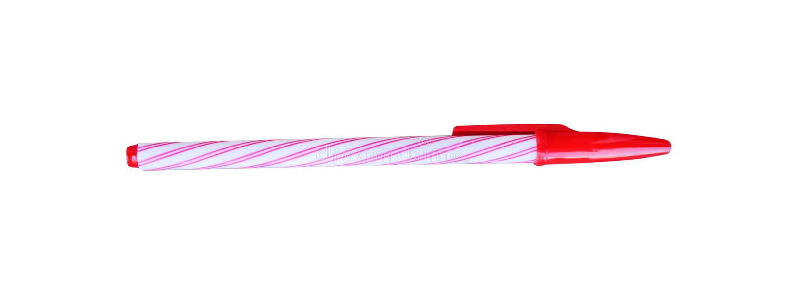 Colorful white ball point pen with red striped isolated on white background ,horizontal royalty free stock photography