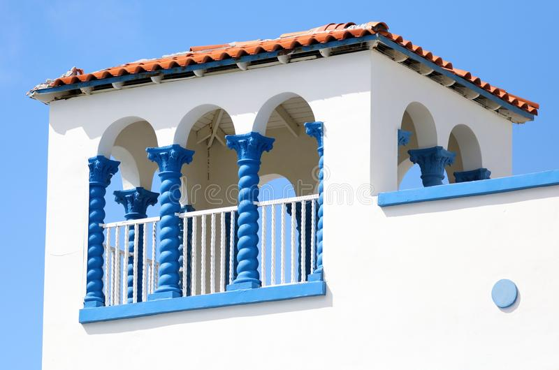 Art deco Colorful white and blue windows in the streets of Miami beach south Florida houses Ocean drive. Colorful white and blue windows in the streets of Miami stock photography