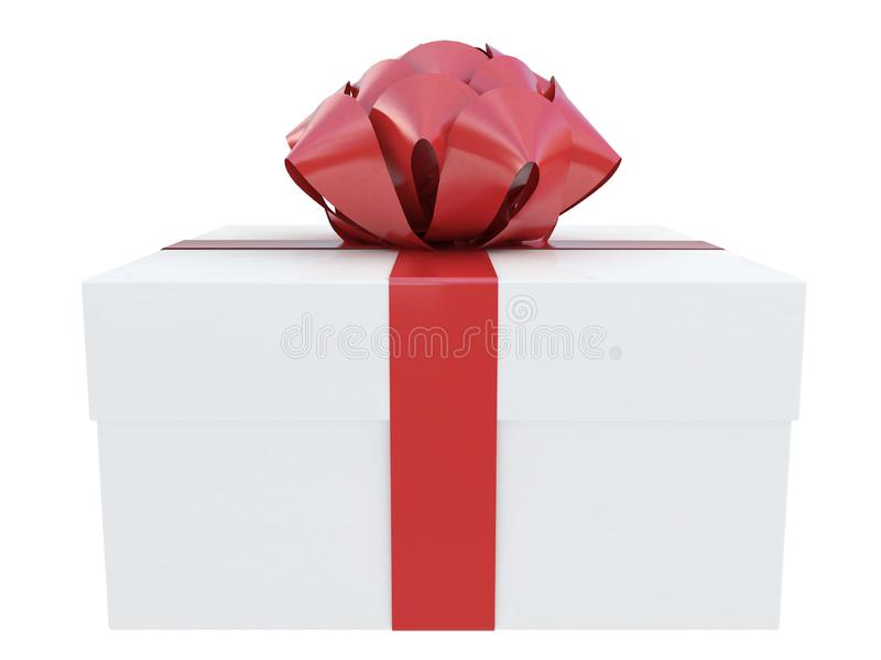 Colorful white gift box with a ribbon and white box with red dots isolated white background 3d rendering vector illustration