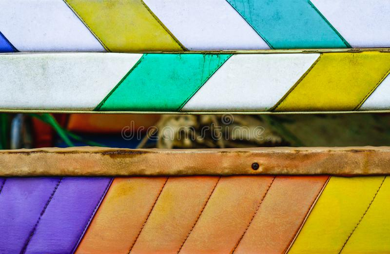 Colorful white ,green ,orange and yellow leather abstract backg royalty free stock photography