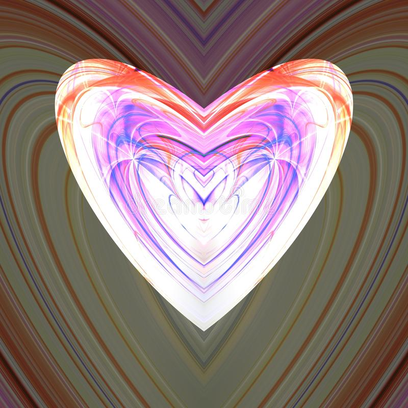 Colorful whitish fractal heart stock illustration