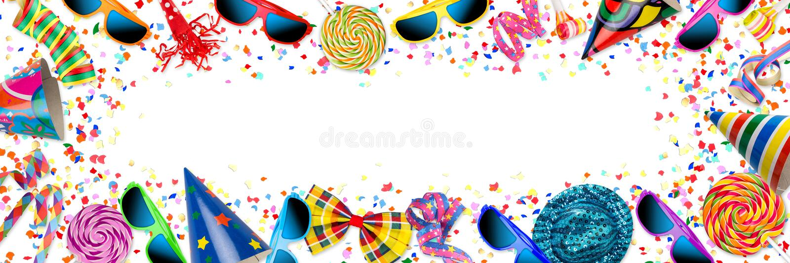 colorful wide panorama party carnival birthday celebration background royalty free illustration