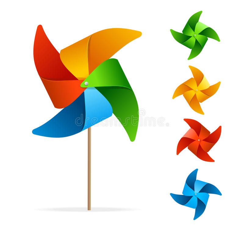 Free Colorful Windmill Set. Vector Stock Photography - 64852902
